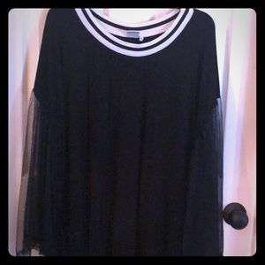 Black sweater with gauzy full sleeves